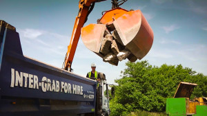 Inter-Grab, grab lorry delivering stone